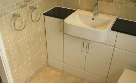 The new basin storage cupboards